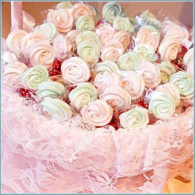 幸福鏟子「迷你玫瑰馬林糖」X100份+大提籃X1個(限宅配)--情人節活動禮贈品/來店禮/生日分享/二次進場/幸福朵朵