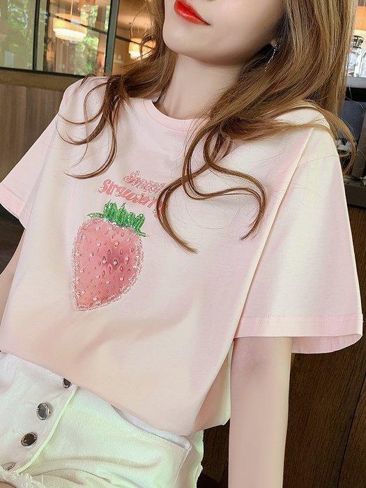 ❤Shinena 千奈公主❤=韓國帶回=微美氣質✨超美立體水鑽草莓T恤 純棉上衣 ✈2019 夏季新品H177