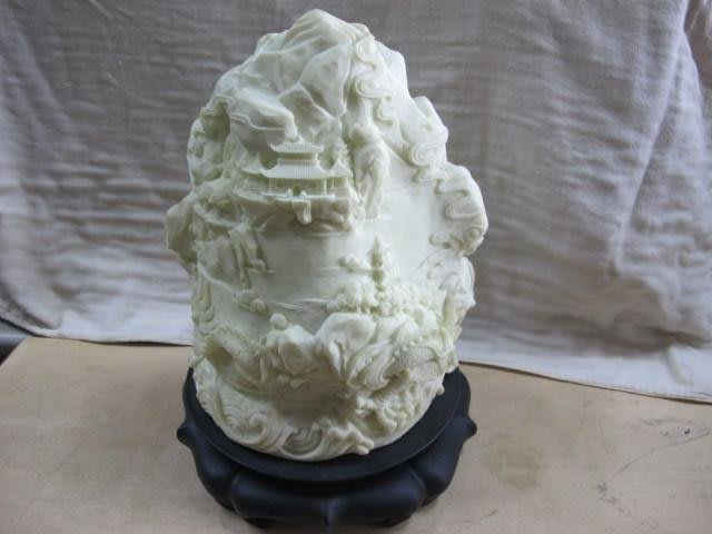 二手鋪 NO.782 夜光雕紫竹林觀世音菩薩法像莊嚴 夜光擺飾 純手工打造藝術夜光石砂工藝 雕件 擺飾 收藏