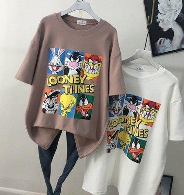 【An Ju Shop】韓國連線 東大門代購 寬鬆磨毛半袖加厚6格卡通印花中長款顯瘦打底衫T恤上衣~G8J095531