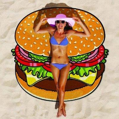 生活小物--【E865】吃貨沙灘巾/絲巾 甜甜圈海邊圓形沙灘墊出遊潮款披薩漢堡沙灘巾
