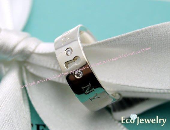 《Eco-jewelry》【Tiffany&Co】新款 鎖孔鑲二鑽戒指 純銀925戒指-二種尺寸~專櫃真品已送洗