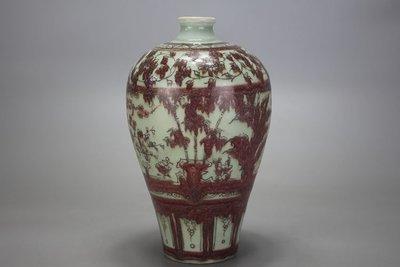 ㊣姥姥的寶藏㊣元代出土釉裡紅松竹梅紋梅瓶 古玩