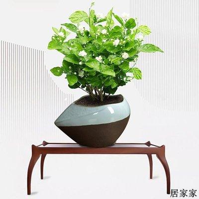 花盆 花器 陶瓷擺飾 陶瓷哥窯茉莉花專用中號花盆開片紫砂粗陶透氣桌面個性創意簡約
