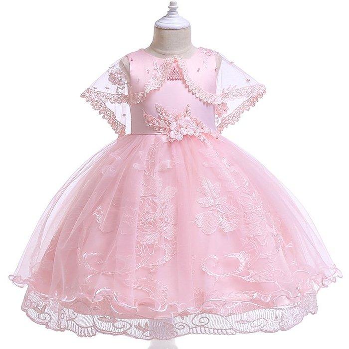 表演服 洋裝 禮服 公主裙 女童ins網紗蓬蓬披肩百褶禮服 連身裙女孩生日裙Kids dresses