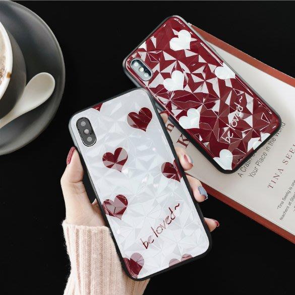 日韓鑽石紋愛心手機殼 簡約 小清新 iPhon6 7 8 Plus X/XS/max保護殼 軟殼