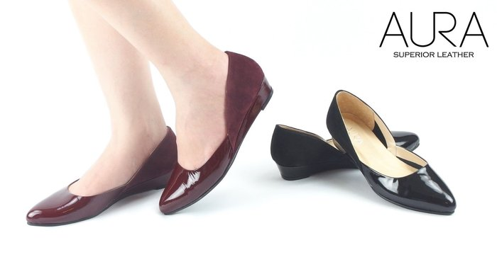 AURA[絕美曲線。羊漆皮麂皮拼接楔型低跟鞋]貓眼石黑/波特酒紅(21.5~25.5)大小尺碼