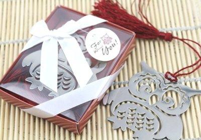 【氣球批發廣場】歐美婚禮小物貓頭鷹 書籤 桃心書籤心型 禮盒 贈品探房禮 送客禮 情人節