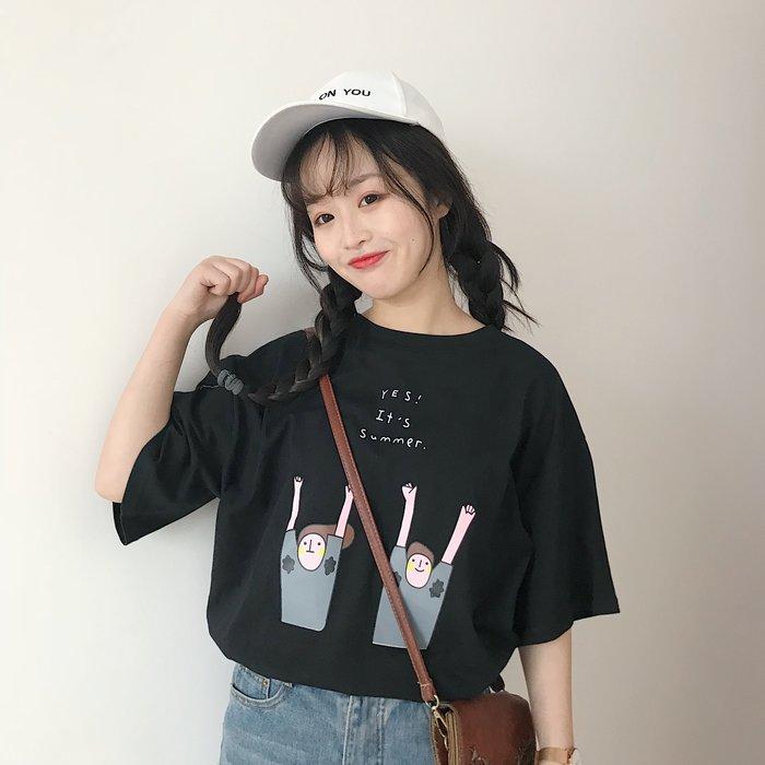 夏季韓版印花寬鬆短袖圓領T恤-2色❤❤❤麻豆實拍❤❤❤T2262