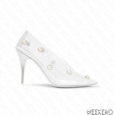 【WEEKEND】 STELLA MCCARTNEY PU 皮革 透明 珍珠 尖頭 高跟鞋 19春夏