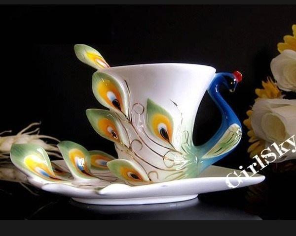 5Cgo【鴿樓】會員有優惠 琺琅瓷 9764502736 孔雀花茶杯- 陶瓷杯盤匙 精美裝飾 送禮自用 下午茶