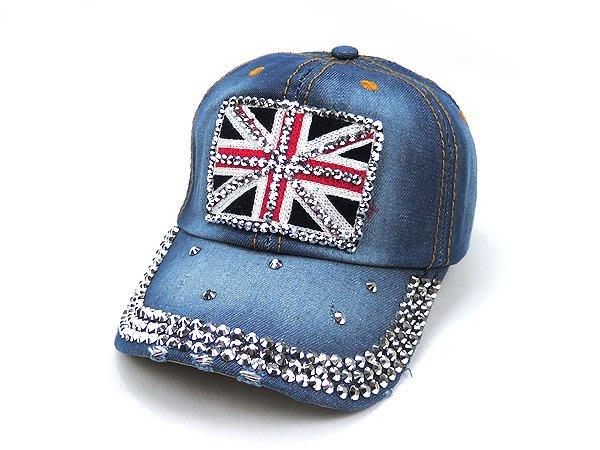 ☆二鹿帽飾☆ (英國 鑽石)貼鑽 丹寧布 牛仔 棒球帽 鴨舌帽/休閒帽最新帽款/帽簷 8.5cm-深藍