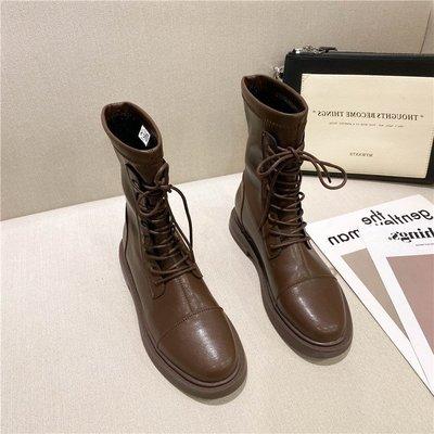 inKorea正韓女鞋代購 2020新款時尚百搭機車靴英倫復古牛皮圓頭低跟短靴女系帶馬丁靴潮