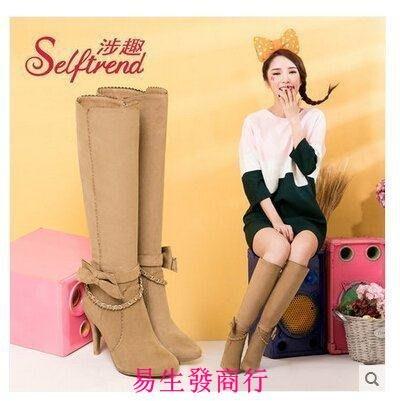【易生發商行】涉趣秋冬蝴蝶結絨面高筒靴細跟及膝長靴高跟女靴子T553F6383