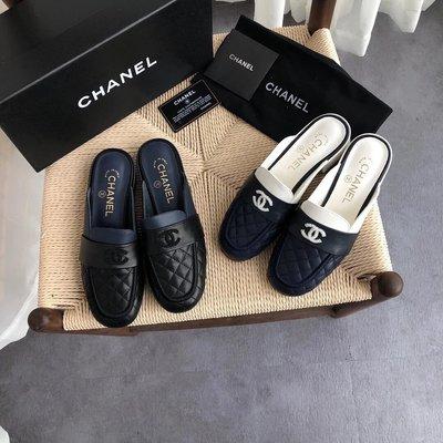 ✤寵愛Pamper for you✤CHANEL小香菱格紋拼色穆勒半拖鞋