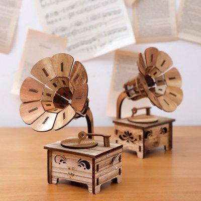 ~阿忿的北歐咖啡館~木質迷你留聲機音樂盒復古碟片音樂盒擺件diy兒童生日 送女友