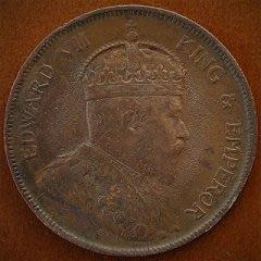 AU 1908 年 英屬 海峽 殖民地 愛德華 七世 1 分 1 Cent 原光 美品 大型 古銅 錢幣