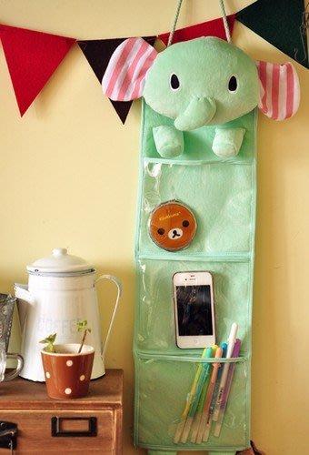 嘉芸的店 日本帶回 憂傷馬戲團 大象收納袋 日本小物壁掛收納袋 三格透明掛袋 薄荷綠大象收納袋