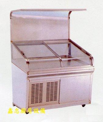 鑫忠廚房設備-餐飲設備:全新平面海產櫥含燈架-賣場有-烤箱-水槽-咖啡機-西餐爐