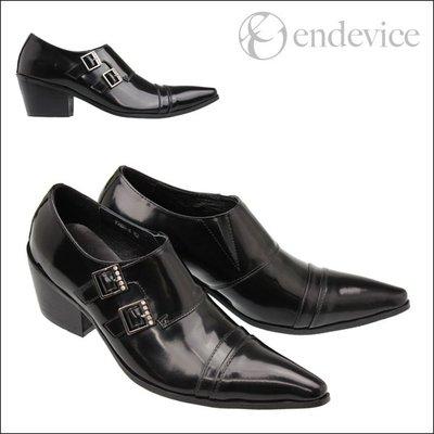 個性時裝男皮鞋 日本原單正品尖頭高跟男皮鞋黑色商務休閑增高男士皮鞋美發師皮鞋