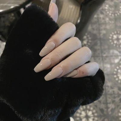 美甲 美甲指甲貼片美甲成品中長款歐美奶茶裸色梯形拆卸假指甲ins網紅同款 浮光