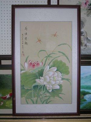 [ 丁銘畫廊 ] 荷花 - 和和氣氣 - 荷包滿滿 - 清香萬里 - 純手工畫 - 國畫原作品- 尺寸特別-含框裱好價格