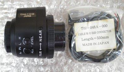 攝影機鏡頭/監視器/CCTV鏡頭/手動、自動變焦/攝像機/CANON/1:1.4/12mm攝影機鏡頭/JAPAN