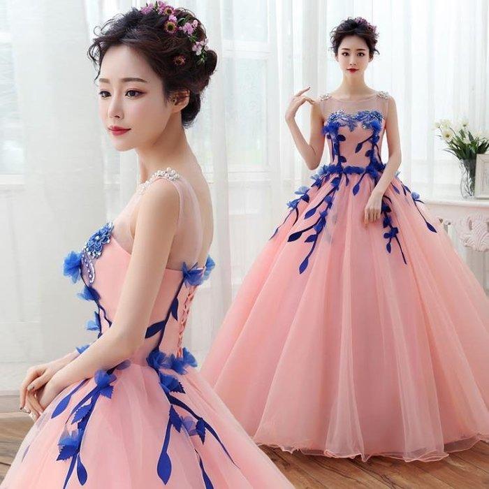 藝考服新款彩色婚紗禮服舞臺獨唱顯瘦影樓服裝長款演出服蓬蓬裙女