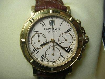名品~259~RAYMOND WEIL 雷蒙威 18K金表 (750) 計時表~歡迎鑑賞面交~7/17ㄖ已蒙收藏