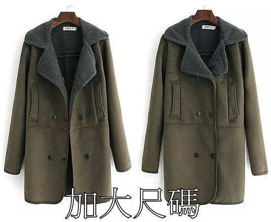 D321 秋季大碼中長款百搭加絨風衣加厚麂皮絨外套