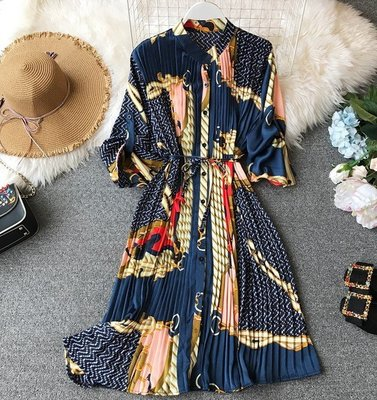 【An Ju Shop】外單 歐美西班牙風 立領寬鬆顯瘦系腰帶百褶長袖印花雪紡連衣裙時尚優雅洋裝~OB215938
