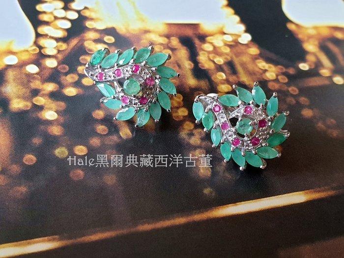 黑爾典藏西洋古董~純銀925銀侯爵夫人綠翡翠祖母綠紅寶石純銀耳環~情人節禮物生日送禮
