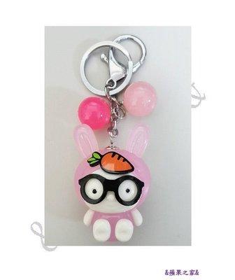 &蘋果之家&超萌-眼鏡兔鑰匙圈-粉紅色