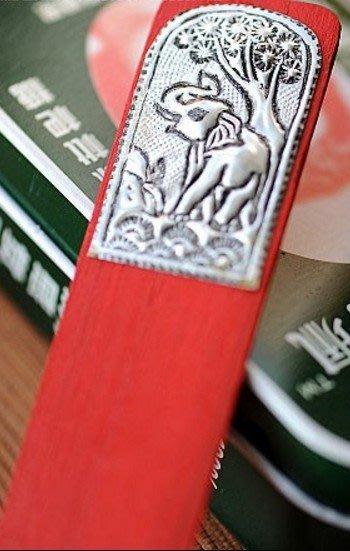 「還願佛牌」泰國進口 小象書籤 紅 彩繪書籤 芒果木 大象 實木 書簽