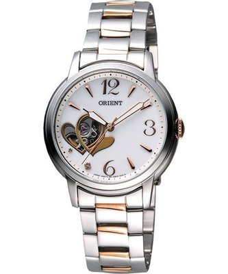 ORIENT日本原廠心型自動錶款,銀+玫瑰金色 FDB0700EW
