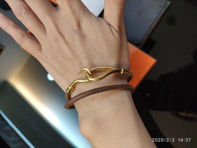Hermes 魚吻 金色手環(可做頸環)