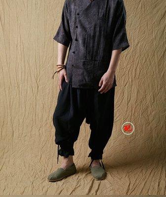 欒一目 改良中式斜襟唐裝男短袖漢服襯衫 民族服裝 中國風