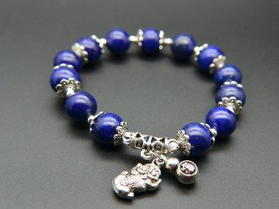 《青金石專區》《手鍊》青金石Lapis lazuli   設計款圓珠+貔貅+葫蘆 手鍊 手珠