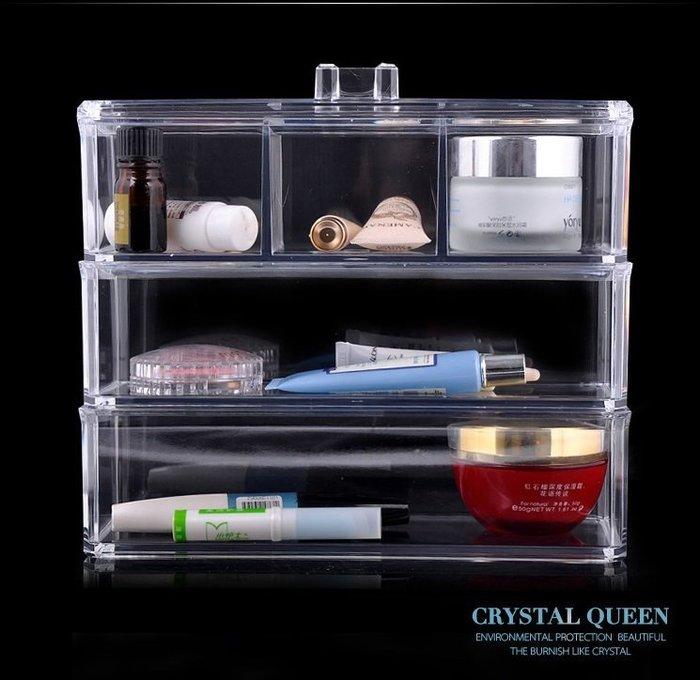 【愛麗絲生活家飾雜貨】韓國高質感透明水晶壓克力收納盒/飾品盒/保養品收納盒-C款
