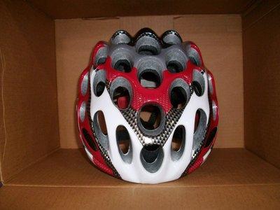 超酷紅白碳蜂巢式自行車安全帽(公路車環義環法破風手)款同Catlike.GIRO.OGK.LAS.KASK.POC