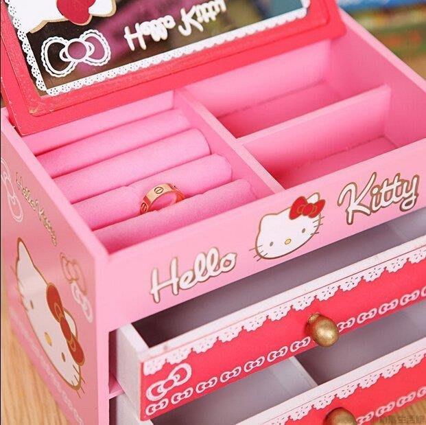 【源品】hellokitty韓國收納盒木質兒童飾品化妝盒卡通可愛禮物木制首飾盒Y~P574