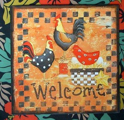 【浪漫349】清倉特價 30*30cm 復古法國海報鐵板畫 雞家族 母雞公雞welcome 或  simplify