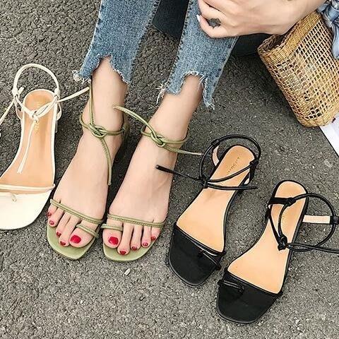2018春夏季新款粗跟涼鞋女韓版中跟套趾一字綁帶露趾港味羅馬女鞋