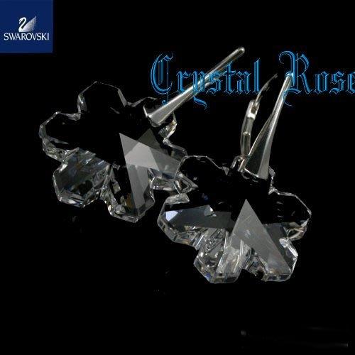 ※水晶玫瑰※ SWAROVSKI 大雪花水晶 進口鍍白金耳勾式耳環(DC125)
