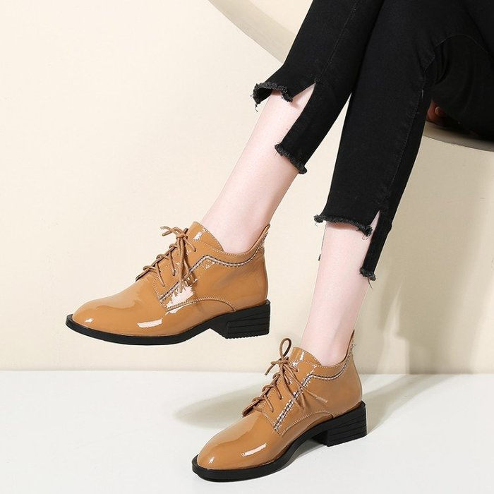 『Alice❤愛麗絲』新款短靴女平跟圓頭女靴真皮系帶時尚百搭學生皮靴歐美粗跟靴