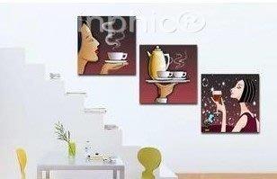 INPHIC-高檔家居裝飾畫 餐廳無框畫三聯客廳臥室壁畫 咖啡美女