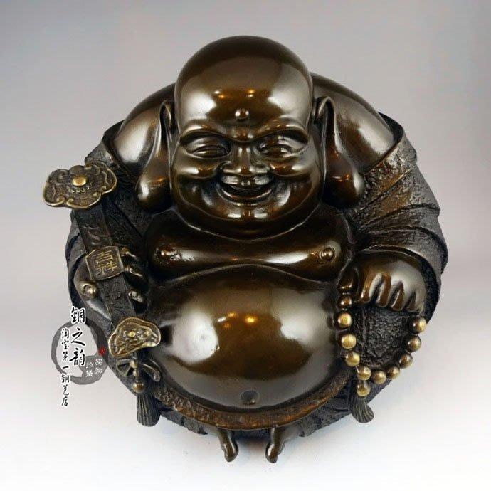 【凡了居】汽車彌勒佛像 銅像 笑口常開彌勒佛 一團和氣擺件 中號 銅之運17