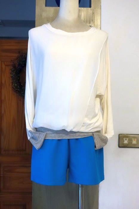 [C.M.平價精品館]現貨出清特價/設計師精品專櫃/風格多變別緻有型舒適百搭蝙蝠袖假兩件白色T恤