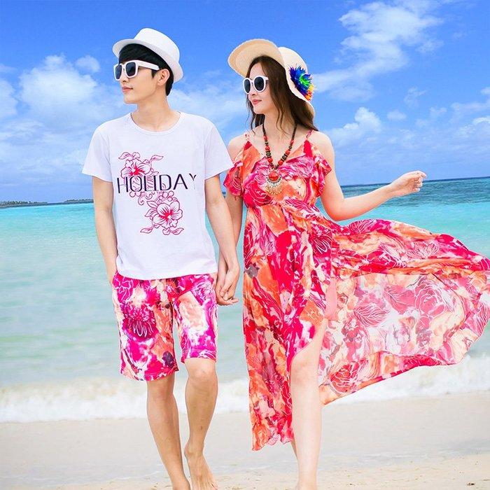 度假洋裝正韓版沙灘度假情侶裝海邊套裝2018新款夏裝蜜月結婚照男衣女吊帶連衣裙10-2