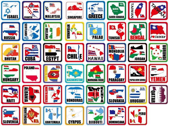 領土貼紙。5X5公分。台灣、日本、中國、泰國、帛琉、柬浦寨、捷克、奧地利、匈牙利、俄羅斯+K001台灣10X10共11款